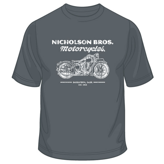 Nicholson Bros. Motorcycles T-shirt – Charcoal